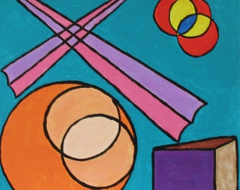 Circles and Spires - A painting by Rory Doyle, an artist with autism - disability art