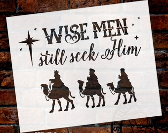 Wise Men Still Seek Him - Rectangle With Camels - Word Art Stencil - Select Size - STCL1542 - by StudioR12