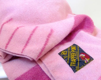 Vintage Four Point Trapper Blanket by Eatons in Rose Pink and Magenta, 1960's