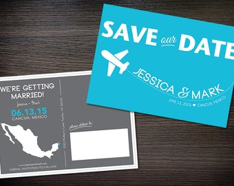 Destination Wedding Save-the-Date Postcard, Blue, Gray, Customizable Colors, Printable Digital File, DIY