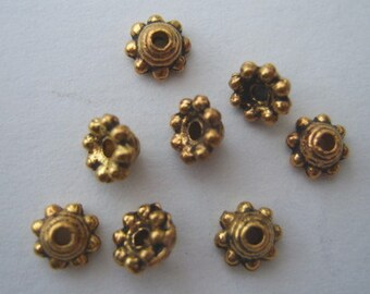 5mm bead caps antique gold, 100 beadcaps bobble edge pack of 100 BCG002