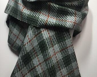 Green and Grey Wool Plaid Scarf Wrap