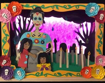 Dia De Los Muertos (Day of the Dead) Paper Art Diorama Light Up Shadow Box