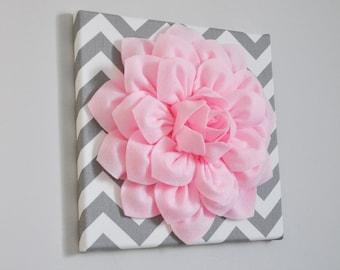 "Wall Art -Light Pink Dahlia on Gray and White Chevron 12 x12"" Canvas Wall Art- Baby Nursery Wall Decor-"