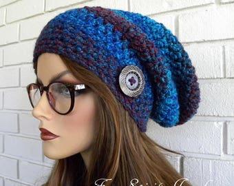 Tuque, chapeau d'hiver, tuque femmes, bonnet, chapeau avec bouton, Boho Chic, Tweed marron rayé, chapeau brun, accessoires