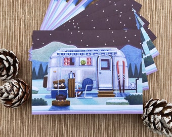 Winter Camper Greeting Cards, Camping Cards, Boxed Set of 8 Cards