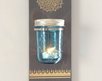 Mason Jar Wall Decor Floral • Yoga Style • Candleholder • Jewelry Organization • Key Hook Hanger • Flowers Floral Vase • Lalas Workshop