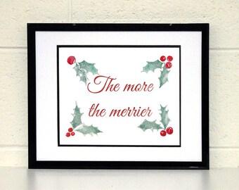Yuletide season etsy christmas wall art holiday decoration merry print 8x10 xmas printable mistletoe watercolor m4hsunfo