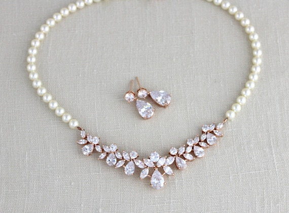 Rose gold necklace Bridal necklace Bridal jewelry set Rose