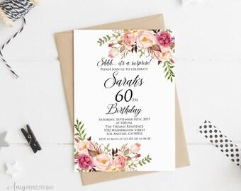 Surprise 60th Birthday Invitation, Women Birthday Invitation, Any Age Women Birthday Invite, PERSONALIZED, Digital file, #W01