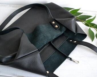 BLACK LEATHER BAG, Laptop bag, Large leather tote bag, Leather tote, Tote bag, Leather tote women, Leather tote, Black Tote Bag - Rome bag -
