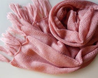 Knitted mohair scarf knitted lace pink scarf, tea rose scarf, women's scarf, dusty rose scarf, light-pink scarf, pink wrap, gift for her