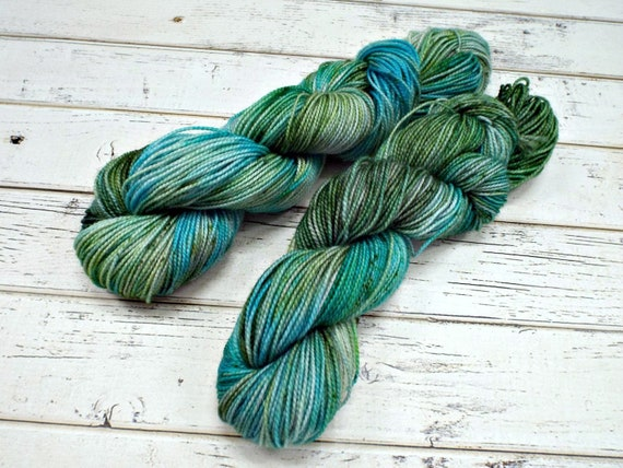Hand Dyed Sock Yarn Superwash Wool Nylon 80/20 Fingering Weight Yarn Sock Yarn 50 Grams - Aqua Green Speckled Yarn - Siren Song