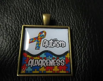 Rainbow Autism awareness  square pendant no chain included
