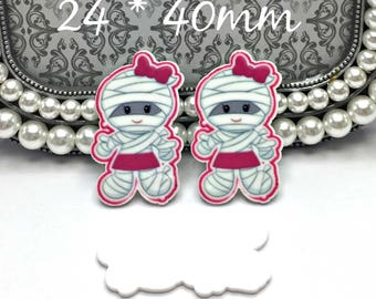 Halloween Mummy Girl W/ Hot Pink Bow Planar Resin Cabochons Kawaii Decoden Scrapbooking Card Making Crafts Embellishments 24 x 40mm