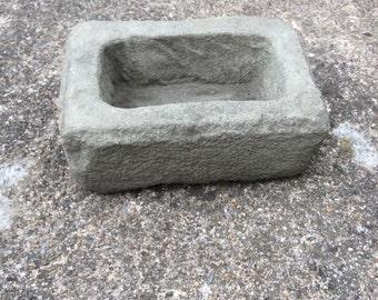 Small stone trough garden planter rectangular shaped for sempervivum  or alpines