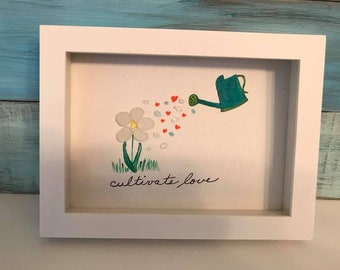 """Sea Glass Art """"Cultivate Love"""" Framed Shadow Box Flowers Gardening, Watering Can"""
