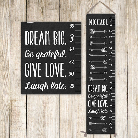 Arrow Growth Chart on Canvas - Personalized Growth Chart, Chalk Art, Measuring stick, Height Chart - GC0002C