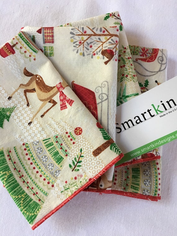 Holiday Christmas Tree and Reindeer All Cotton Lunch Box Cloth Napkin 12x15 in Size by Smartkin