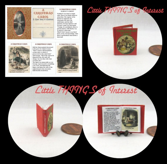 A CHRISTMAS CAROL, by Charles Dickens Miniature Book Dollhouse 1:12 scale Readable Illustrated Book