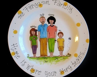 "Personalized 12"" Family Platter - Hand Painted Family Platter - great wedding, house warming, anniversary or hostess gift"