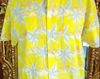 Vintage 70's Men's Yellow Tropicana Tiki Shirt
