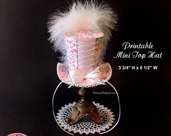 Pink Top Hat, DIY Mini Top Hat, Shabby Chic Hat, Floral Fascinator, PRINTABLE Mini Top Hat, Corset Style Top Hat, Printable Paper Party Hat