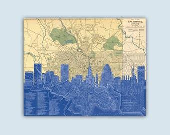 Baltimore Skyline, Baltimore Maryland Art, Baltimore Art Print, Baltimore Decor, Personalized Skyline Print, Baltimore Poster, Baltimore Map