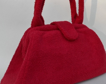 Red Shearling Retro Bag
