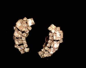 Vintage Weiss Rhinestone Earrings Signed Weiss 1940's Clipon Earrings Cluster Rhinestone Earrings Wedding Jewelry Somethiing OLD
