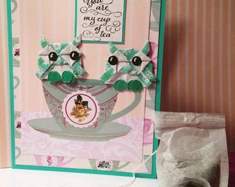 You are My Cup of Tea Owl Couple Card
