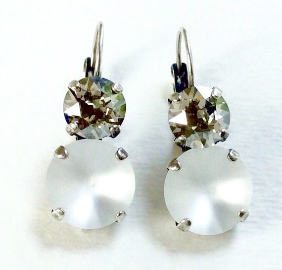 "Swarovski Crystal 12MM/8.5mm Drop Earrings - "" Moon Glow "" - Crystal Matte & Silver Shade - Pure Sophistication     FREE SHIPPING"
