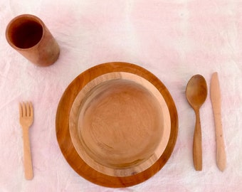 Wooden dishes set for children /Child\u0027s wood place setting / Wooden plates for kids / & Wooden dishes | Etsy