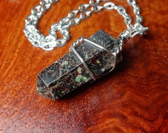 Garnet Point Pendant Wire Wrapped Double Terminated Gemstone (K7H) Raw Natural Handmade Stones Gemstones Necklace