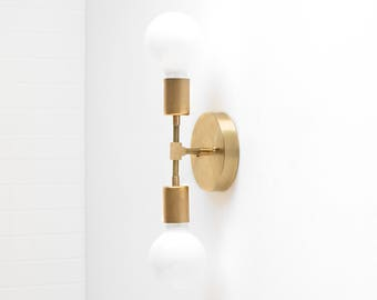 Gold Wall Sconce - Modern Wall Lamp -  Industrial Light - Bare Bulb Sconce - Vanity Lighting - Bathroom Fixture