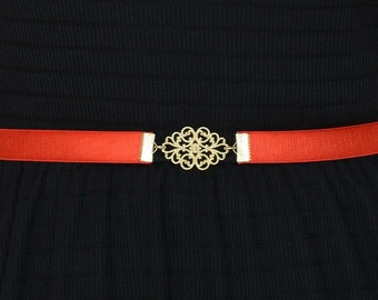Red Belt - Bridesmaid belt - waist belt - Gold Belt - Stretch Belt - dress Belt - Party Dress Belt - skinny belt - ribbon belt - Retro belt