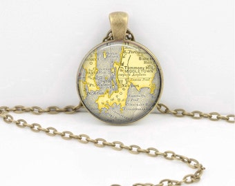 Newport  Rhode Island RI  Vintage Map  Geography Gift  Pendant Necklace or Key Ring