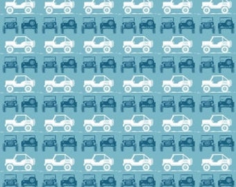 Jeeps on Blue from Riley Blake Design's J is For Jeep Collection