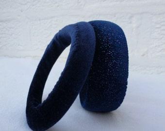 Upcycled jewelry blue bangles womens handmade eco-friendly bracelets blue velvet recycled jewellery bracelets recycled bangles indie jewelry