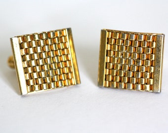 Gilded vintage cuff links, 1980ies cuff buttons, gift for him, vintage men's jewellery and accessoires