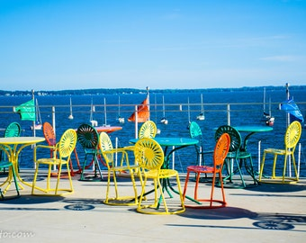Memorial Union Sunprint Chairs, Lake Mendota, University of Wisconsin, Madison, Terrace view with lone chairs P1063