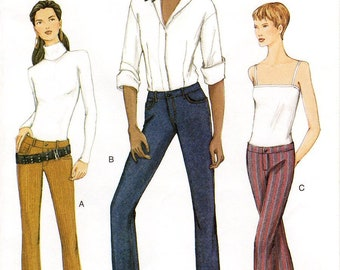 Sz 6/8/10 - Vogue Pants Pattern 7481 - Misses' Close-Fitting, Low Rise Jeans/Pants in Three Variations - Vogue Patterns