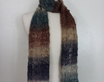 Knitted lace scarf, multicolor teal blue brown, acrylic roving