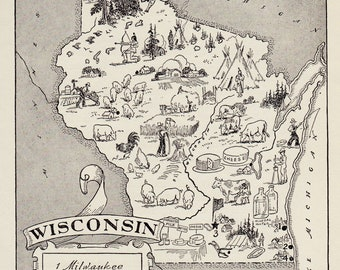 50's Vintage WISCONSIN Picture Map Pictorial State Map Print Black and White Gallery Wall Art Wedding Gift for Birthday Anniversary
