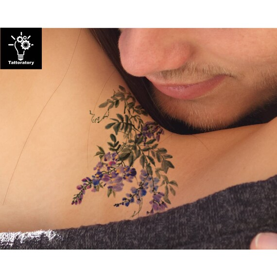 watercolor flower temporary tattoo flower tattoo watercolor. Black Bedroom Furniture Sets. Home Design Ideas