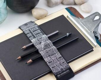 Large Journal Bandolier // black & white city (a better pencil case, journal pen holder, book strap, pen loop, pencil roll, pen bandolier)