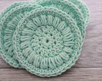 Crochet Face Rounds - Face Scrubby Set - Reusable Cotton Face Scrubbies - Makeup Remover Pads - Crochet Cotton Coaster Set - Six Coasters
