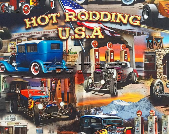 """HOT RODDING USA Car Panel Quilt Fabric - by the 24"""" Panel Cotton Cars Route 66 Digitally Printed"""