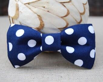 Navy blue polka dot bow tie
