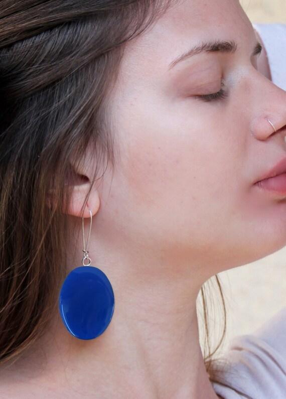 Lapis blue earrings, blue resin earrings, statement earrings, modern minimalist, color block jewelry, big oval long lightweight earrings